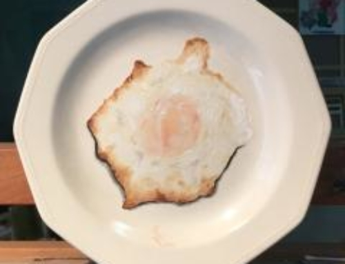 Huevo frito en plato.